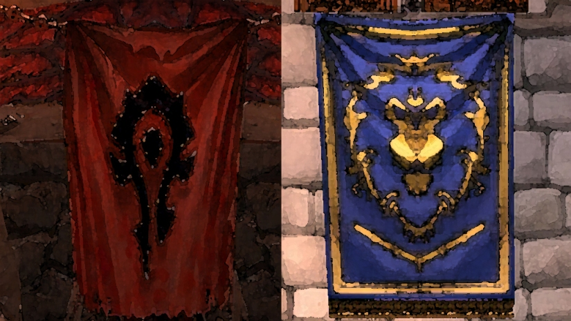 World of Warcraft Horde and Alliance banners